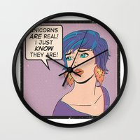 unicorns Wall Clocks featuring Unicorns by heymonster