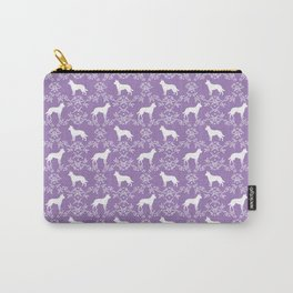 Australian Kelpie dog pattern silhouette purple florals minimal dog breed art gifts Carry-All Pouch