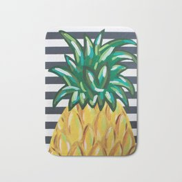 Pineapple on Black and White Stripes Bath Mat