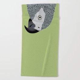 African Grey Parrot [ON MOSS GREEN] Beach Towel