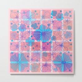 Drawing flowers in cubes Metal Print
