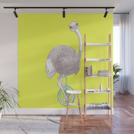 Ostrich on Monocycle Wall Mural