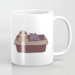 Sloth and Cat in a Box Coffee Mug