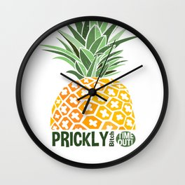 Pineapple lovers 'Prickly Bitch' series Wall Clock