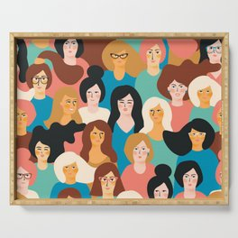 CUTE ALL-OVER WOMENS MARCH PATTERN Serving Tray
