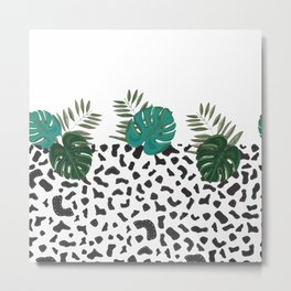 Leopard pattern with hand drawn monstera leaves Metal Print