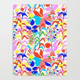 60's Fiesta Floral 2 in White Poster