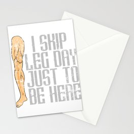 "Nice Leg Day Shirt ""I Skip Leg Day Just To Be Here"" T-shirt Design Dumbbell Injury Injured Fitness Stationery Cards"