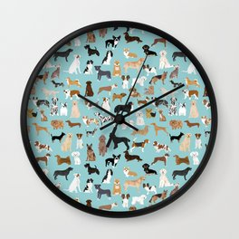 Dogs pattern print must have gifts for dog person mint dog breeds Wall Clock