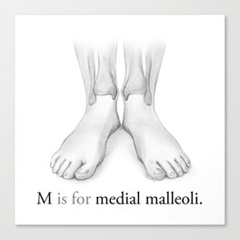 M is for medial malleoli Canvas Print