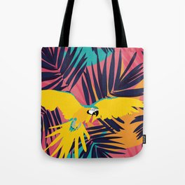 Tropical Macaw Print Tote Bag
