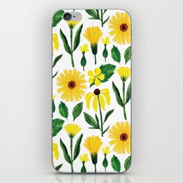 Watercolor sunshine yellow green daisies floral iPhone Skin