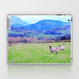 Nosy Sheep at Borrowdale, Lake District, UK Watercolor Painting Laptop & iPad Skin