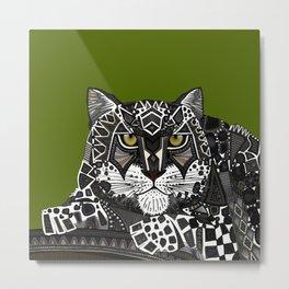 snow leopard green Metal Print