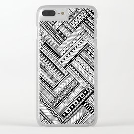 Tribal Ethnic Style  Black & White Clear iPhone Case