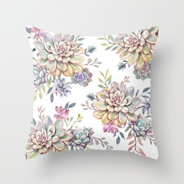 succulent watercolor 10 Throw Pillow