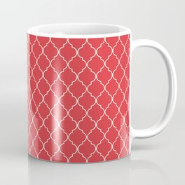 Quatrefoil Poppy Red Moroccan Ogee Pattern Coffee Mug