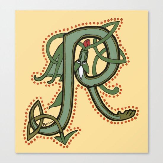 Celtic Dragon Letter R Canvas Print
