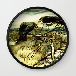 The Two Crows Wall Clock
