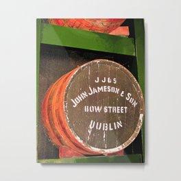 Jameson whiskey - Jameson Irish whiskey wooden barrel face photography Metal Print