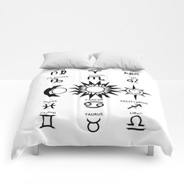 The Moon The Sun and The Stars with Zodiac Signs Comforters