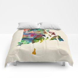 Rhode Island Watercolor Map Comforters
