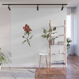 Loose Watercolor Rosebuds Wall Mural