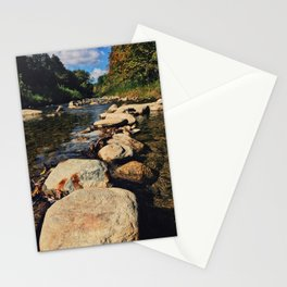 Rock path in the midlle of the river Stationery Cards