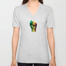 Senegal Flag on a Raised Clenched Fist Unisex V-Neck