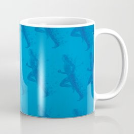 Watercolor running man silhouette background in blue color pattern Coffee Mug
