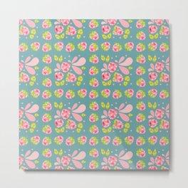 Raspberry Boom Seamless Surface Pattern Design Metal Print