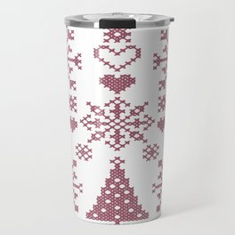 Christmas Cross Stitch Embroidery Sampler Pink And White Travel Mug
