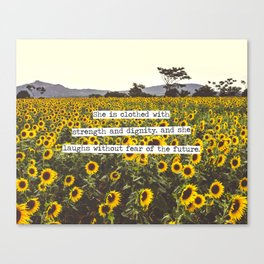 She is clothed with strength and dignity Canvas Print