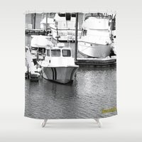 boats Shower Curtains featuring Boats BW by BeachStudio