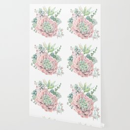 Pretty Pink Succulents Garden Wallpaper