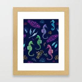 Sparkly Seahorse Framed Art Print