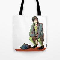 jem Tote Bags featuring Jem and Church by The Radioactive Peach
