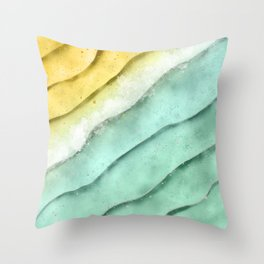 Water, Sea Foam and Sand Throw Pillow