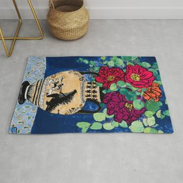 Bright Peony Rose Bouquet in Grecian Urn with Godzilla Walking French Bulldogs Painting Rug