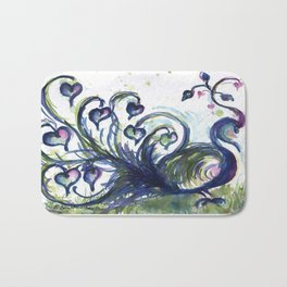 Pink Hearted Peacock watercolor by CheyAnne Sexton Bath Mat