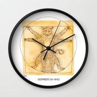 da vinci Wall Clocks featuring Leopardo da Vinci by Nanu Illustration