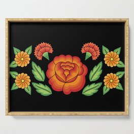 Mexican Folk Pattern – Tehuantepec Huipil flower embroidery Serving Tray
