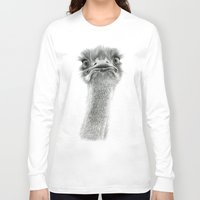 ostrich Long Sleeve T-shirts featuring Cute Ostrich SK053 by S-Schukina