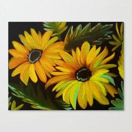 Daisy's At Night Canvas Print