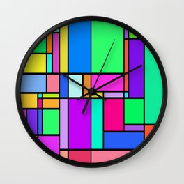 colorful geometric square vectors Wall Clock