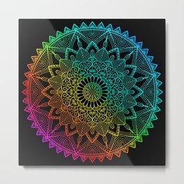 Black Rainbow Mandala Doodle Metal Print