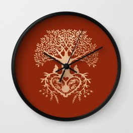 Rose Gold foil Tree of Life with Heart Roots Wall Clock