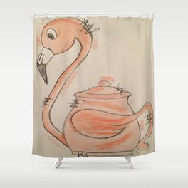 Flamingo Teapot Shower Curtain