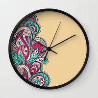 paisley Wall Clocks featuring Paisley by Cultivate Bohemia