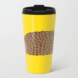 Hedgehog on yellow Metal Travel Mug